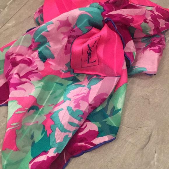 YSL silk floral  scarf